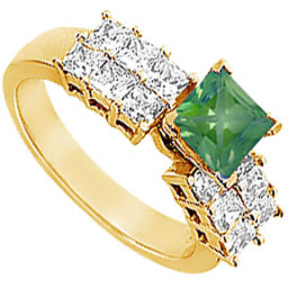 Lovebrightjewelry Trendy 14K Yellow Gold Emerald & Diamond Engagement Ring-1.75 Ct