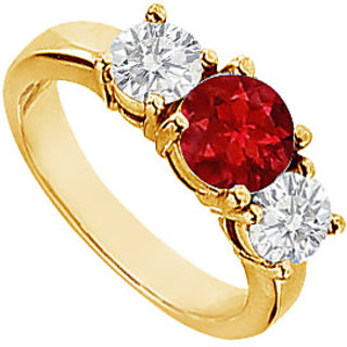 Lovebrightjewelry Dazzling 14K Yellow Gold Ruby & Diamond Engagement Ring-2.00 Ct