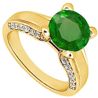 Lovebrightjewelry 14K Yellow Gold Pretty Emerald & Diamond Engagement Ring-1.00 Ct