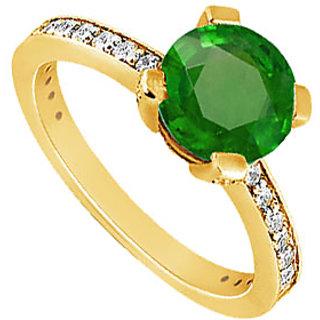 Lovebrightjewelry 14K Yellow Gold Alluring Emerald & Diamond Engagement Ring