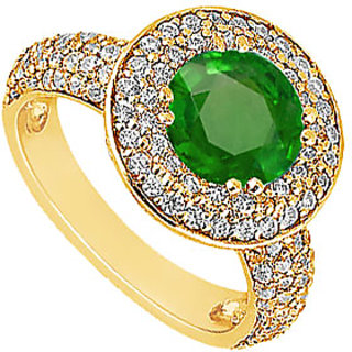 Lovebrightjewelry 14K Yellow Gold Emerald & Diamond Exquisite Engagement Ring
