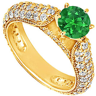 Lovebrightjewelry 14K Yellow Gold Emerald & Diamond Engagement Ring-1.50 Ct