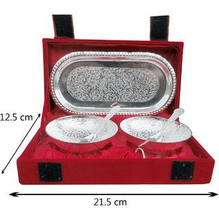 a vary lookrative imported silver polish bowl with sopoon sets.
