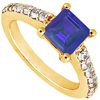 Lovebrightjewelry 14K Yellow Gold Sapphire & Diamond Swank Engagement Ring-1.00 Ct