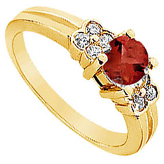 Lovebrightjewelry 14K Yellow Gold Ruby & Diamond Ring-0.75 Ct