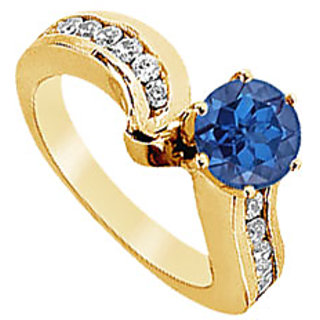 Lovebrightjewelry 14K Yellow Gold Sapphire & Diamond Stylish Engagement Ring