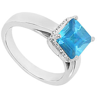 Lovebrightjewelry Blue Topaz & 14K White Gold Diamond Ring-0.83 Ct