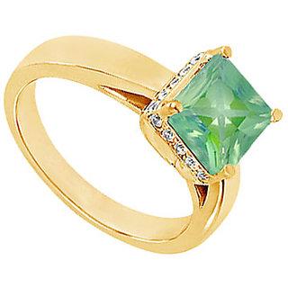 Lovebrightjewelry Emerald & 14K Yellow Gold Diamond Ring-1.00 Ct