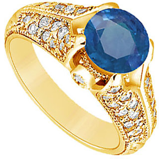 Lovebrightjewelry 14K Yellow Gold Sapphire & Diamond Angelic Engagement Ring