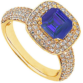 Lovebrightjewelry 14K Yellow Gold Chic Sapphire & Diamond Engagement Ring-1.50 Ct