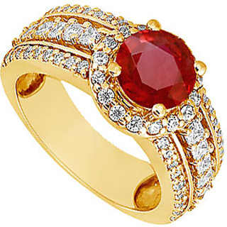 Lovebrightjewelry 14K Yellow Gold Ruby & Diamond Elegant Engagement Ring-1.50 Ct