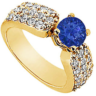 Lovebrightjewelry 14K Yellow Gold Sapphire & Diamond Nice Engagement Ring
