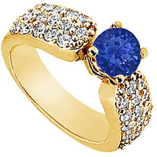 Lovebrightjewelry 14K Yellow Gold Sapphire & Diamond Nice Engagement Ring