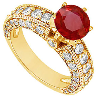 Lovebrightjewelry 14K Yellow Gold Ruby & Diamond Engagement Ring-2.00 Ct