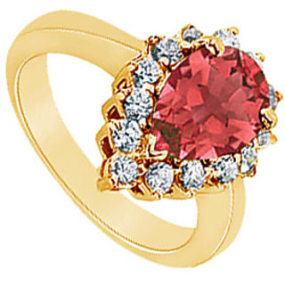 Lovebrightjewelry Stylish Ruby & 14K Yellow Gold Diamond Ring-1.50 Ct