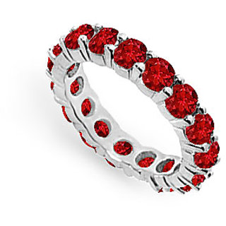 Lovebrightjewelry Swanky 14K White Gold & Ruby Eternity Band 4.00 Ct