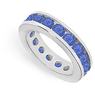 Lovebrightjewelry Voguish 14K White Gold & Blue Sapphire Eternity Band 4.00 Ct