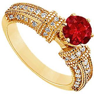 Lovebrightjewelry Chic 14K Yellow Gold Ruby & Diamond Engagement Ring-1.00 Ct