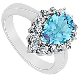 Lovebrightjewelry Trendy Blue Topaz & 14K White Gold Diamond Ring-1.50 Ct