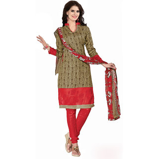 Trendz Apparels Beige Printed Dress Material With Matching Dupatta TAVRBGS10007