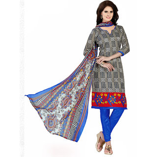 Trendz Apparels Grey Printed Dress Material With Matching Dupatta TAVRBGS10009