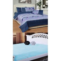 K Decor Double Bedsheet with 2 Pillow Covers And 1 Mattress Protector Sheet
