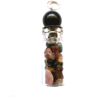 Diwali Special Sale! Multi Tourmaline Bottle Shape Pendant Chakra Healing Gemstone Crystal Jewelry
