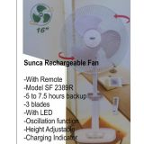 SUNCA RECHARGEABLE BATTERY AC/DC FAN WITH REMOTE  SF 2389R