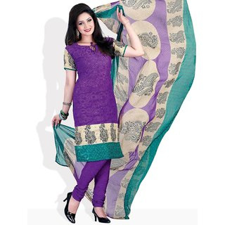 Fabdeal Swirls Of Style Ready-To-Stitch Suit (Purple)