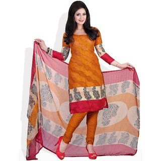 Fabdeal Style Me With Swirls Ready-To-Stitch Suit (Orange)