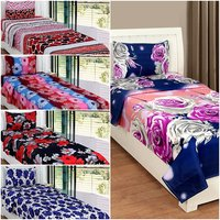 BSB Trendz 3D Printed 5 Single Bedsheet With 5 Pillow Covers