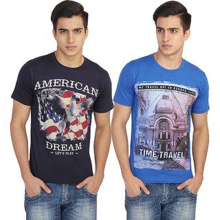 VOUTEIL Printed Men's Round Neck Multicolor T-Shirt Pack of 2