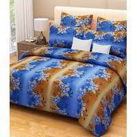 Handloomdaddy 100%cotton Designer Blue Double Bed Sheet & 2 Pillow Covers(hc01)