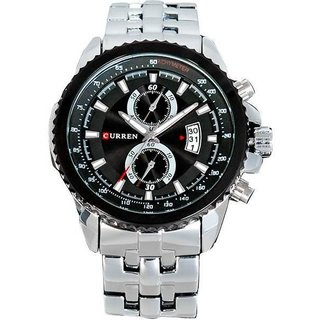 Style Feathers Curren Black Dail Silver Chain Analog Watch For Men