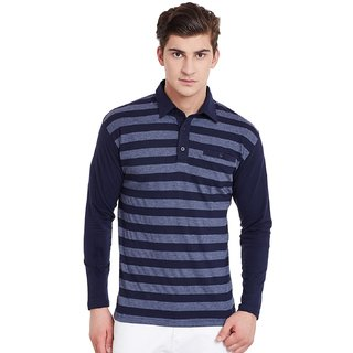 Hypernation Blue Grey Stripe Polo T-Shirt With Plain Blue Sleeves