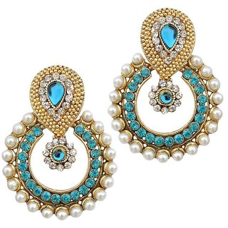 Women Jewellery Royal Designer Gold Plated And AD Color Pearl Traditional Earrings