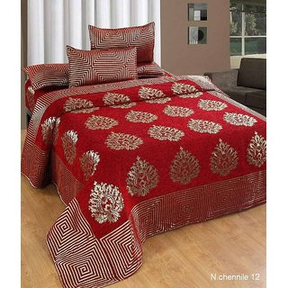 Akash Ganga Red Chenille Double Bed Cover With 2 Pillow Covers(BC-61A)