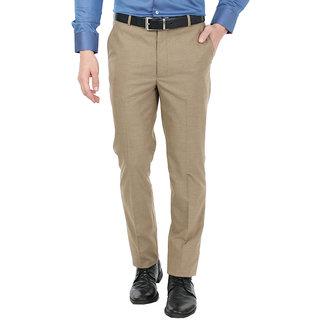 Zido Men'S Slim Fit Brown Formal TrouserZI15067Brown