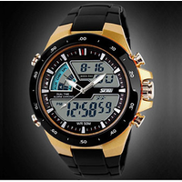 SKMEI 1016-Gold Digital + Analog Led Backlight Unisex Watch