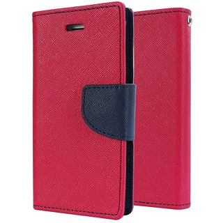 SCHOFIC Mercury Goospery Fancy Wallet Diary with Stand View Faux Leather Flip Cover for Sony Xperia T3 (Pink)