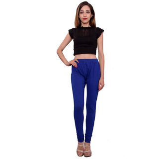MSONS Women's Blue Yoke Pattern Churidar Leggings in Cotton Lycra Fabric - Free Size
