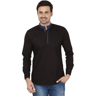 Smile By Nature Men's Full Sleeve Black  Blue Cotton Kurtas