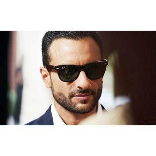 Saif Ali Khan Special Black Glass Black Framed Wayfarer Sunglasses