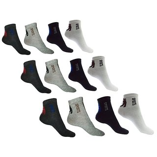 Pack Of 12 Pairs Of Cotton Unisex Sports Ankle Socks For Men Women