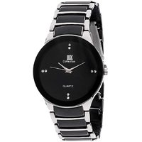 Iik Stylish Silver Black Stainless Steel Analog Watch For Men's