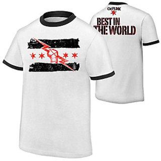 CM Punk T Shirt WHITE Thunder Designer Tshirt Made In India
