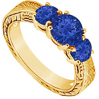 Bewitching Sapphire Three Stone Ring In 14K Yellow Gold