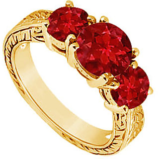 Delightful Ruby Three Stone Ring In 14K Yellow Gold