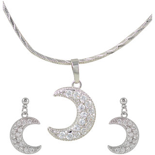Glitters Silver Rhodium Plated Crescent Moon Shape Imported Pendant Sets With Earrings For Women