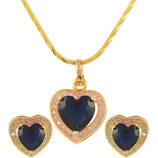 Glitters 24 Ct Gold Plated Heart Shape Blue Imported Pendant Sets With Earrings For Women